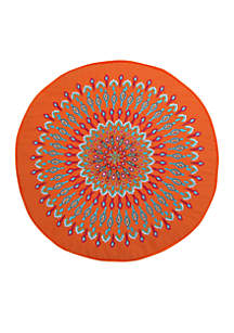 Azalea Orange Peacock Round Pillow