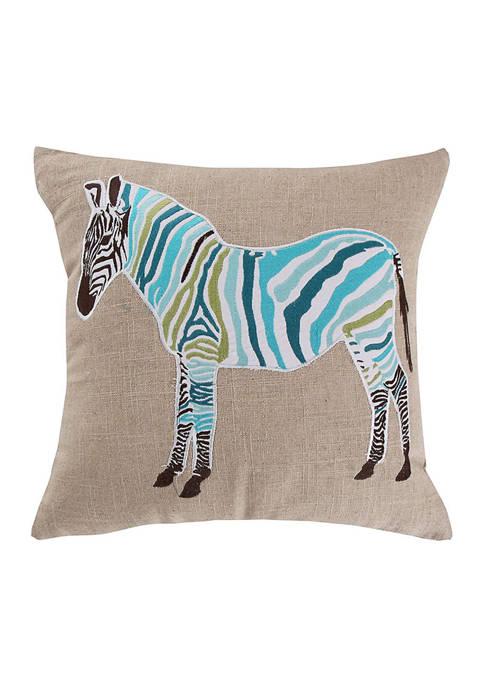 Levtex Mirage Teal Zebra Pillow