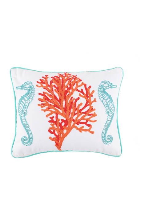 Sunset Bay Seahorses Coral Pillow