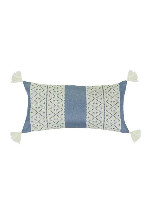 Levtex Home Josephina Denim Diamond Appliqué Tassel Pillow