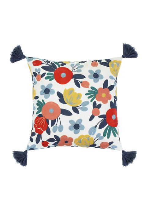 Levtex Home Josephina Floral Crewel Tassel Pillow