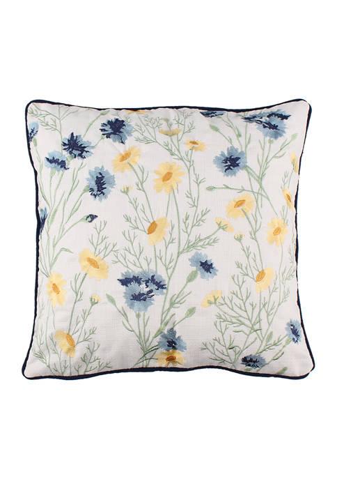 Levtex Home Linnea Blue Floral Embroidered Pillow