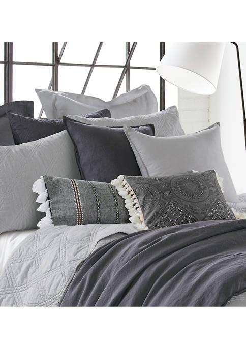 Levtex Home Black Pieced Appliqué Tassel Pillow