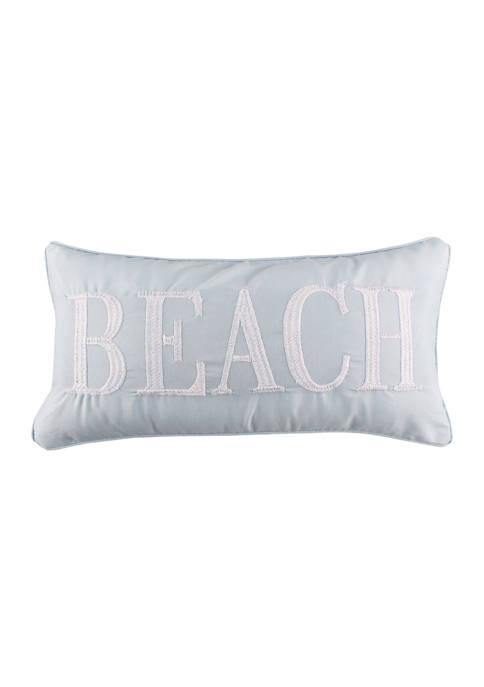 Levtex Tahiti Gray Beach Embroidered Pillow