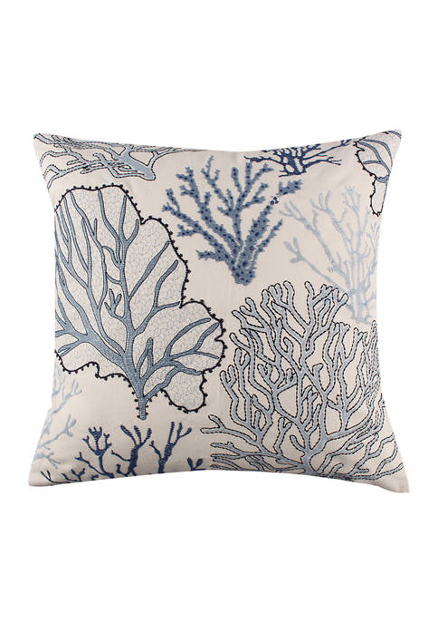 Levtex Tahiti Gray Embroidered Coral Pillow