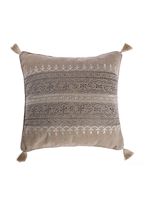 Levtex Ginerva Embroidered Striped Burlap Pillow