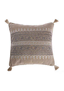 Ginerva Embroidered Striped Burlap Pillow