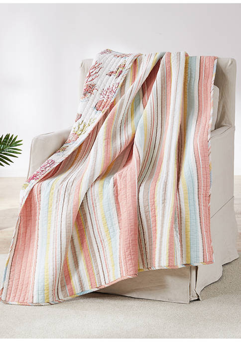 Levtex Home Coral Brighton Quilted Throw