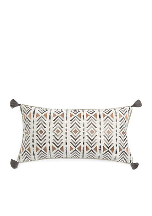 Leora Striped Geometric Pillow with Tassels