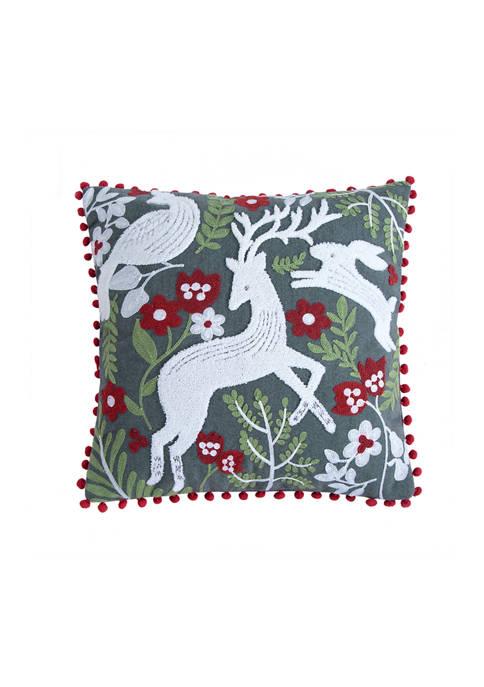 Oscar & Grace Bretton Woods Animals Crewel Gray Pom Pillow