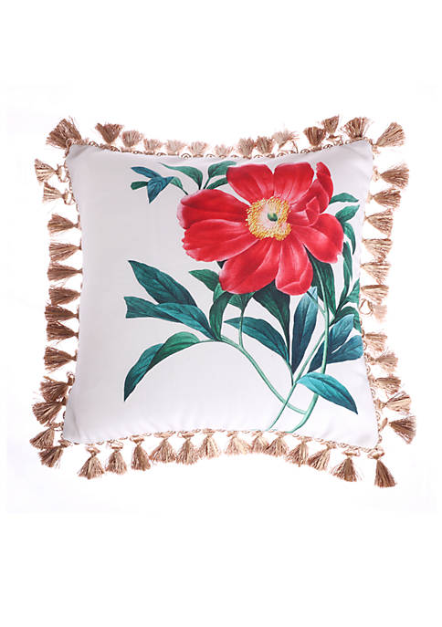 Malena Floral Rose Pillow with Tassels
