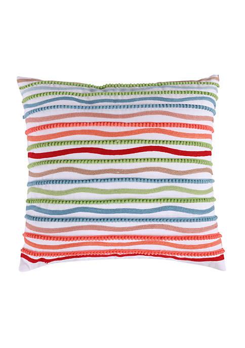 Levtex Malena Multi Striped Pom Pom Pillow