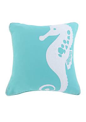 Huntington Teal Seahorse Pillow