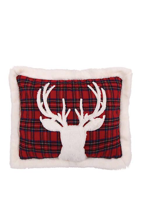 Levtex Home Fur Deer on Red Plaid Pillow
