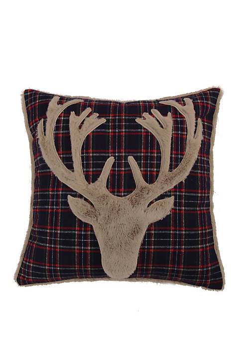 Levtex Home Fur Deer on Navy Plaid Pillow