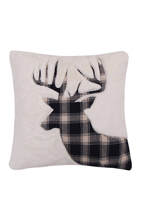 Levtex Home Plaid Deer on White Fur Pillow