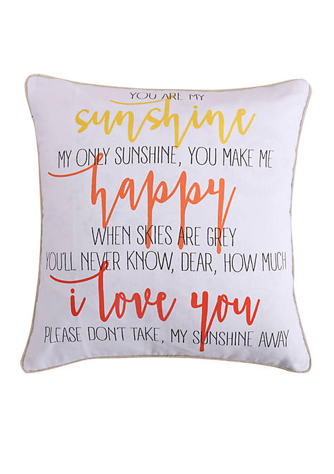 Levtex Lilian Coral Sunshine Happy Pillow