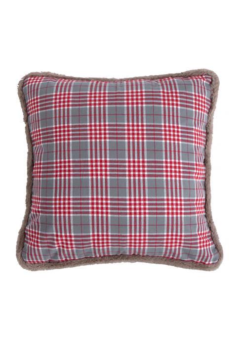 Sleigh Bells Gray Plaid Pillow