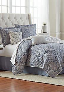 6-Piece Irene Damask Quilt Bed-In-A-Bag Set