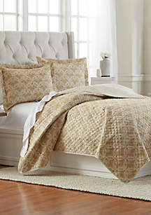 3-Piece Geometric Gold Pinsonic Quilt Set