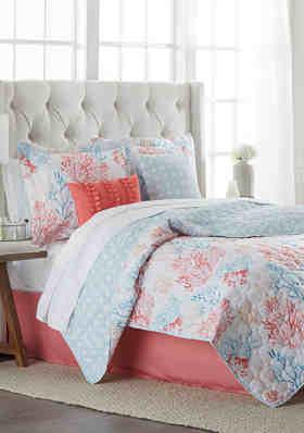 Coastal Quilt Set King Size Nautical Blue Shells Comforter Bedding Cover GIFT
