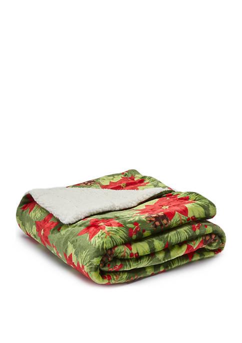 50 in x 60 in Green Poinsettia Blanket