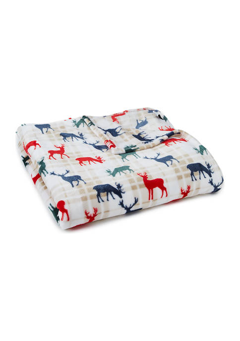 Modern. Southern. Home.™ Holiday Plaid Deer Blanket
