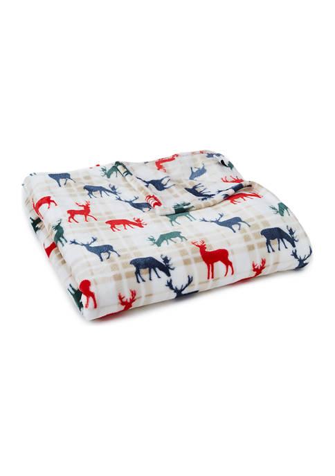 Holiday Plaid Deer Blanket