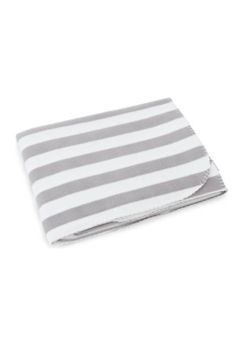 Gray and White Stripe Fleece Throw