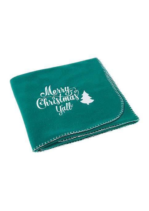 "Green Fleece Throw - ""Merry Christmas Yall"""