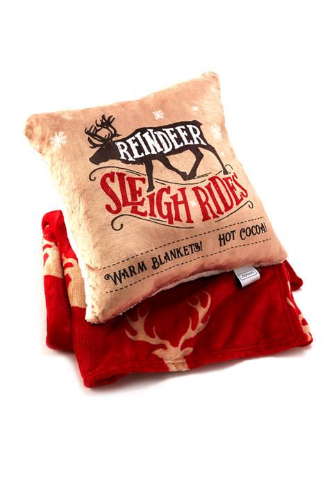 Joyland Giftable Boxed Reindeer Sleigh Ride Pillow and