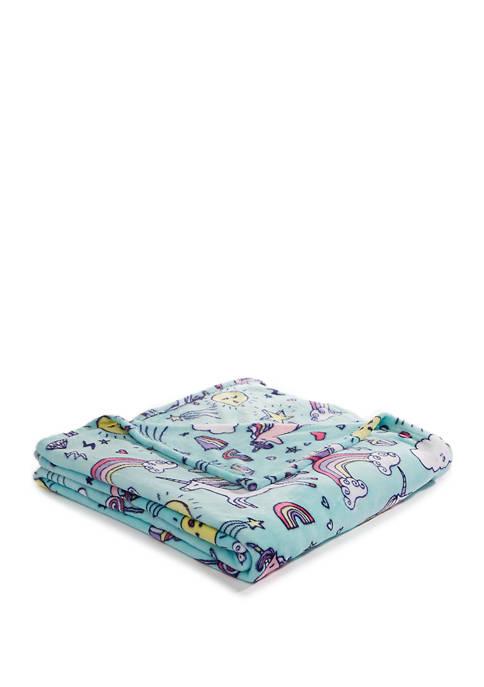 Lightning Bug Print Fleece Unicorn Blanket