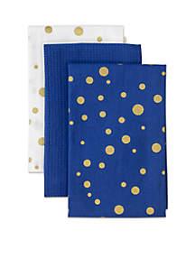 Gold Polka Dot Kitchen Towels - Set of 3