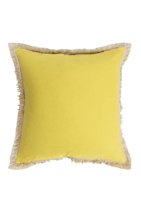 Rizzy Home Solid Pillow With Fringe