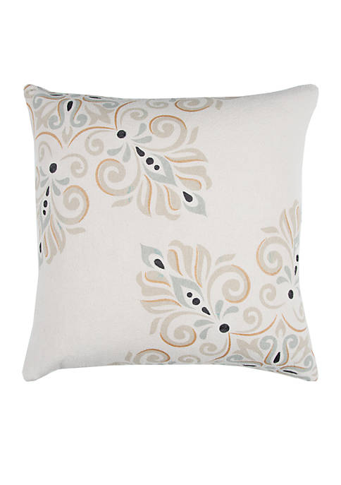 Rizzy Home Floral Beige Decorative Filled Pillow
