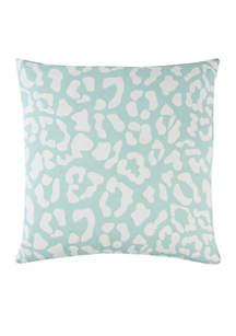 Aqua Animal Print Cotton Decorative Pillow