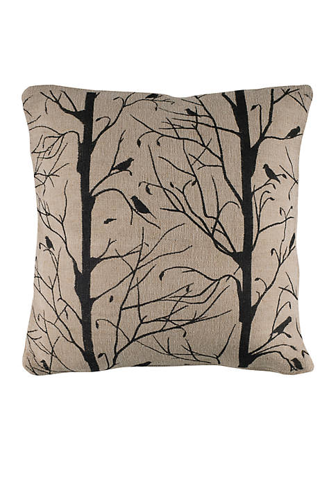 Twigs and Bird Print Pillow
