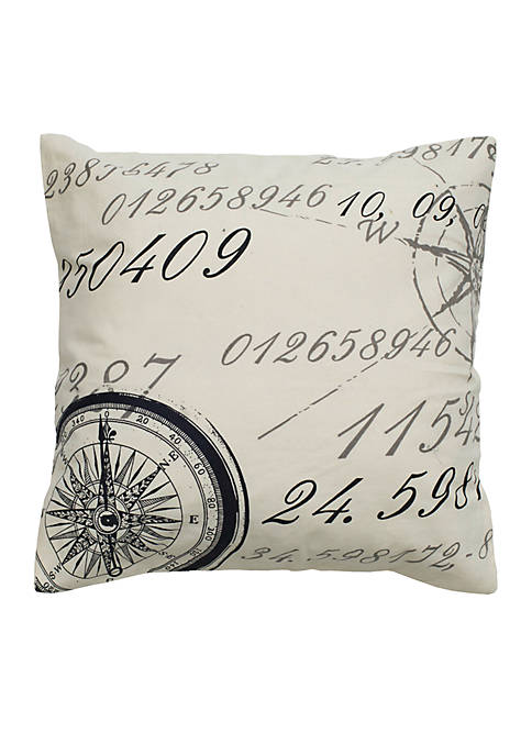 Rizzy Home Compass Black Lettering Decorative Pillow