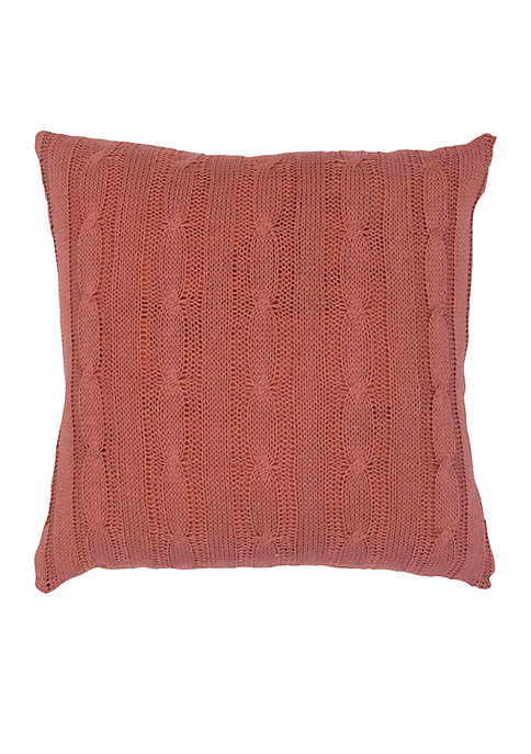 Rizzy Home Rust Red Cable Knit Button Pillow