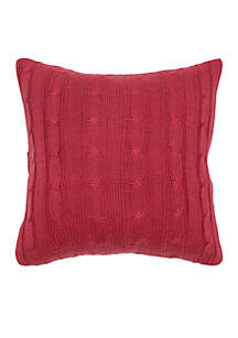 Rizzy Home Red Cable Knit Button Decorative Pillow