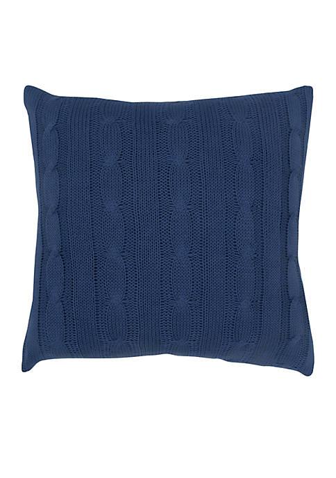 Blue Cable Knit Button Decorative Pillow