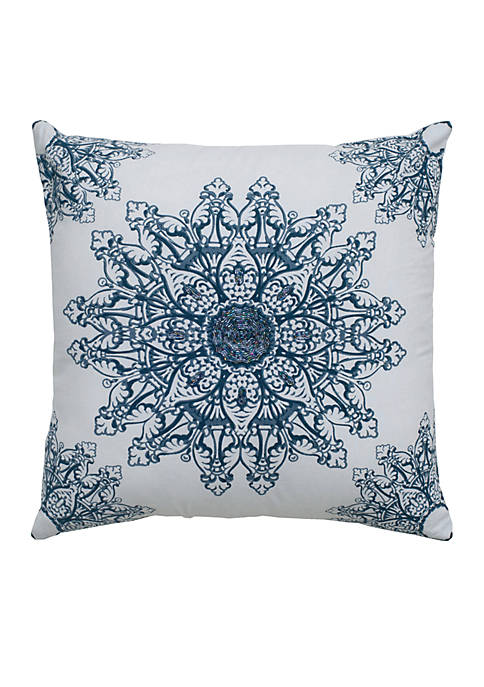 Rizzy Home White Medallion Decorative Pillow
