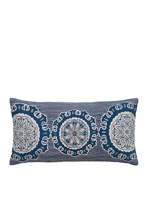 Rizzy Home Blue Medallion Decorative Pillow