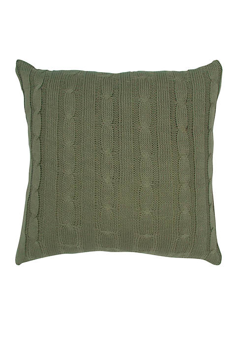 Olive Green Cable Knit Button Pillow