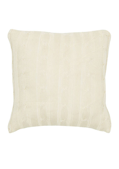 Rizzy Home Cream Cable Knit Button Decorative Pillow