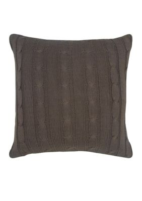Rizzy Home Mocha Brown Cable Knit Button Decorative Pillow