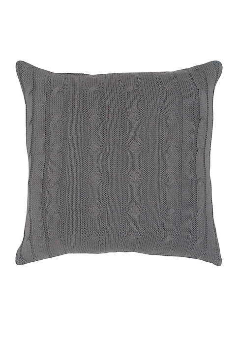Rizzy Home Light Grey Cable Knit Button Decorative