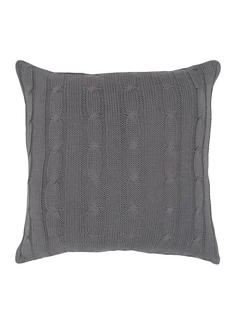 Light Grey Cable Knit Button Decorative Pillow