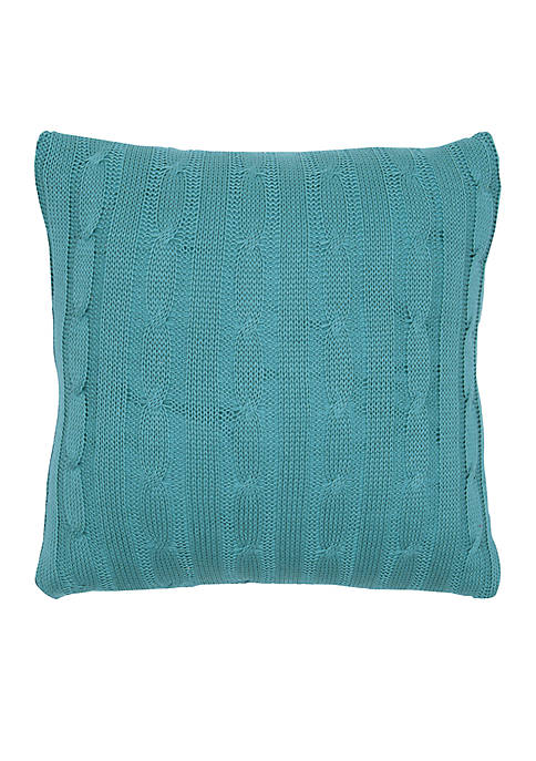 Rizzy Home Blue Cable Knit Button Decorative Pillow