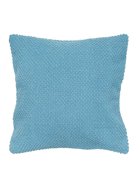 Rizzy Home Blue Solid Textured Decorative Pillow